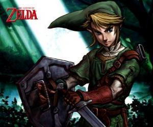 Link mit Schwert und Schild in die Abenteuer von The Legend of Zelda Videospiel puzzle