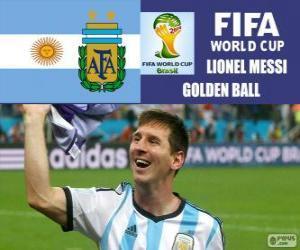 Lionel Messi, Goldener Ball. Brasilien 2014 FIFA Fußball-Weltmeisterschaft puzzle