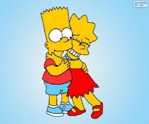 Lisa und Bart umarmten einander wie gute Brüder puzzle