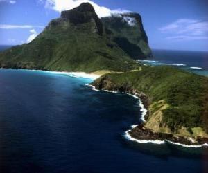 Lord Howe Inseln dieser Inselgruppe ist ein Beispiel für die Erzeugung einer Reihe von isolierten ozeanischen Inseln, die durch unterseeische vulkanische Aktivität. Australien. puzzle