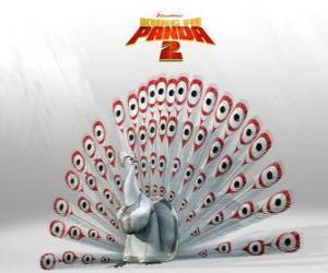 Lord Shen, ein Albino Pfau ist der Hauptfeind in die Abenteuer der Film Kung Fu Panda 2 puzzle