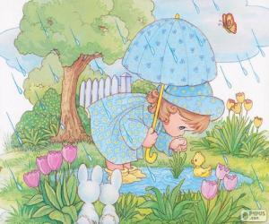 Mädchen an einem regnerischen Tag puzzle