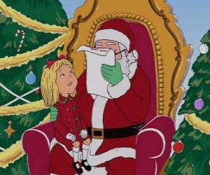 Mädchen im Gespräch mit Weihnachtsmann puzzle