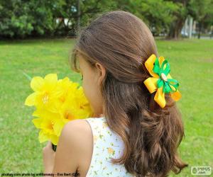 Mädchen mit Blumen puzzle