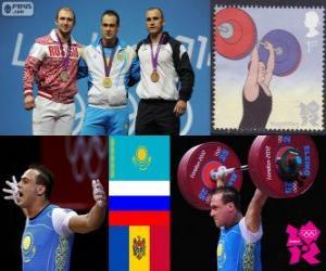 Männer 94 kg Gewichtheben Podium, Ilya Ilyin (Kasachstan), Alexander Iwanow (Russland) und Anatoly Ciricu (Moldawien) - London 2012- puzzle