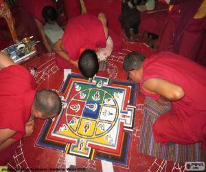 Mönche, so dass ein mandala puzzle