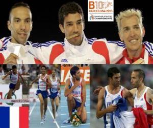 Mahiedine Mekhissi-Benabbes 3000 m Hindernis-Champion, Bouabdellah Tahri und Jose Luis Blanco (2. und 3.) der Leichtathletik-Europameisterschaft Barcelona 2010 puzzle