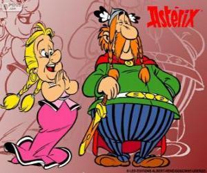Majestix, der Führer der gallischen Dorf mit seiner Frau Dobromina puzzle