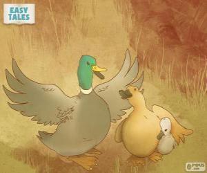 Mama Ente schützt hässlichen Entlein puzzle