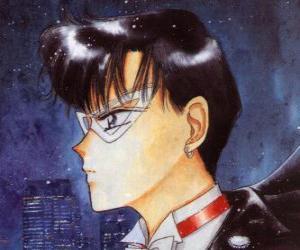 Mamoru Chiba wird der Held Tuxedo Mask, ein maskierter Mann in Frack puzzle