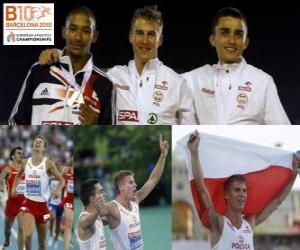 Marcin Lewadowski 800 m Champion Michael Rimmer und Adam Kszczot (2. und 3.) der Leichtathletik-Europameisterschaft Barcelona 2010 puzzle