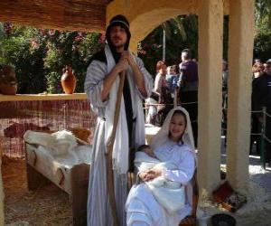 Maria, Josef und Jesuskind in der Krippe leben puzzle