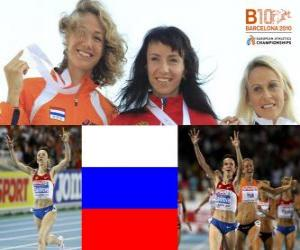 Maria Savinov Champion bei 800 m, Yvonne und Jennifer Meadows Hak (2. und 3.) der Leichtathletik-Europameisterschaft Barcelona 2010 puzzle