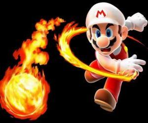 Mario wirft einen Feuerball puzzle