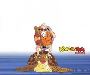 Master Roshi, Muten Roshi oder Kame Sennin, der alten Kampfkunst Meister, Son Goku und Krillin Züge puzzle
