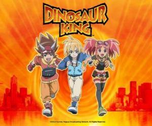 Max, Rex und Zoe, die Experten auf Dinosaurier und die Protagonisten der Serie Dinosaur King puzzle