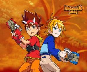 Max und Rex, zwei der Protagonisten in Dinosaur King puzzle
