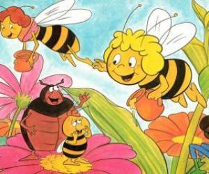 Maya flog zusammen mit dem Lehrer Cassandra tragen ein Glas Honig jeden, während Wili ihren Freunden und Kurt grüßen puzzle