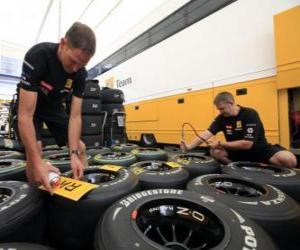 Mechanische F1, Vorbereitung des Reifens puzzle
