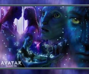 Mehrere Bilder von Jake und na'vi avatar Neytiri puzzle