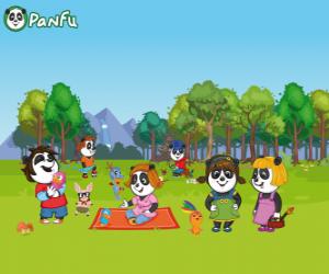 Mehrere junge Panfu Pandas im park puzzle