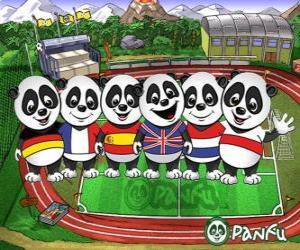 Mehrere Panfu Panda T-Shirts einiger Nationalmannschaften puzzle