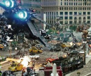Mehrere Transformers Kampf in der Stadt puzzle