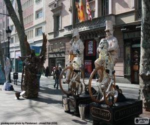 Menschliche Statuen, Barcelona puzzle
