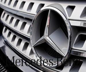 Mercedes-Logo, Mercedes-Benz, Deutsche Fahrzeuge der Marke. Drei-Stern von Mercedes puzzle
