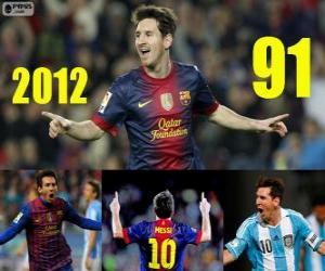 Messi schließt 2012 mit 91 Toren puzzle