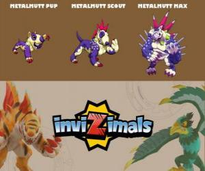 Metalmutt in drei phasen Metalmutt Pup, Metalmutt Scott und Metalmutt Max, Invizimals puzzle