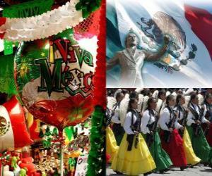Mexikanischer Unabhängigkeitskrieg. Erinnert 16. September 1810, der Anfang des Kampfes gegen die spanische Herrschaft puzzle
