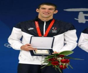 Michael Phelps mit einer trophäe puzzle