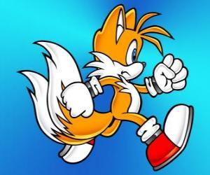 Miles Prower, wie Tails bekannt ist ein Fuchs mit zwei Schwänzen, die fliegen können puzzle