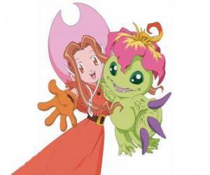 Mimi mit ihrem Digimon Palmon hat Mimi Tachikawa das Sinnbild der Reinheit oder Unschuld puzzle