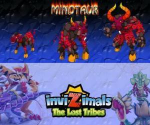 Minotaur, neueste Entwicklung. Invizimals Die verlorenen Stämme. Gefährlich und wilden Invizimal, die aus dem Labyrinth entgangen ist puzzle