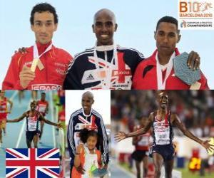 Mo Farah 5000m Meister, Jesus Spanien und Hayle Ibrahimov (2. und 3.) der Leichtathletik-Europameisterschaft Barcelona 2010 puzzle