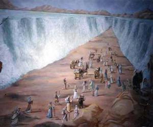Moses teilte die Wasser des Roten Meeres in den exodus des jüdischen volkes puzzle