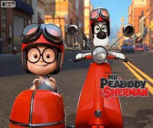 Mr. Peabody und Sherman auf dem Motorrad mit Beiwagen puzzle