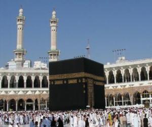 Muslimische Pilger um die Kaaba, einem würfelförmigen Gebäude in Mekka, Saudi-Arabien zu Fuß puzzle