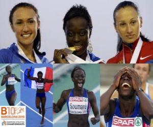 Myriam Soumaré Meister im 200 m, und Alexandra Bryzhina Yelizabeta Fedora (2. und 3.) der Leichtathletik-Europameisterschaft Barcelona 2010 puzzle