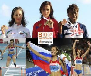 Natalia Antiuj 400m Hürden Champion, Vania Stambolova und Shakes-Drayton Perri (2. und 3.) der Leichtathletik-Europameisterschaft Barcelona 2010 puzzle
