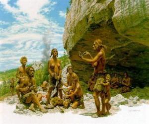Neandertaler gruppe männer unter dem schutz ein felsdach oder abri, einzeinen die durchführung verschiedener aktivitäten: Carving einige steine, die anderen die vorbereitung auf die jagd puzzle