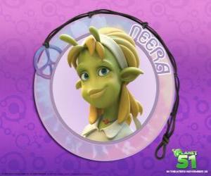 Neera ist die typische Mädchen, smart, schöne grüne Schale mit einigen attraktiven Antennen auf der Stirn puzzle