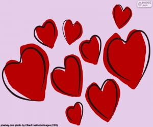 Neun rote Herzen puzzle