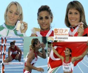 Nevin Yanit Meisterin im 100m Hürden, Derval O'Rourke und Carolin Nytra (2. und 3.) der Leichtathletik-Europameisterschaft Barcelona 2010 puzzle