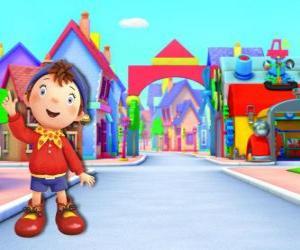 Noddy ist ein Kind aus Holz, die in einem kleinen Haus wohnt im Spielzeugland, die Stadt von Spielzeug puzzle