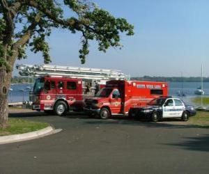Notfall-Fahrzeuge Feuerwehr, Rettungsdienst und Polizei puzzle