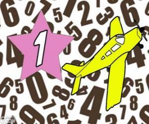 Nummer 1 in eine stern mit einem flugzeug puzzle