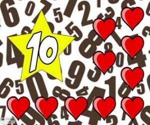 Nummer 10 in einem stern mit zehn herzen puzzle